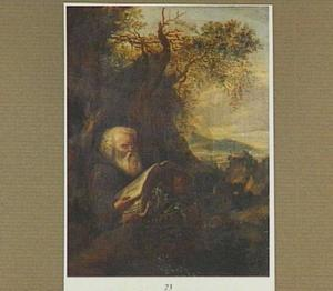 Een lezende heremiet in een boslandschap