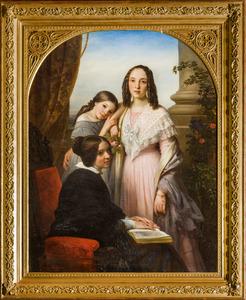 Portret van de dochters van Johannes Diederik Kruseman (1794-1861):  Henrietta Augusta (1836-1865), Maria Johanna Justina (1837-1919) en Johanna Cornelia Maria (1827-1914)