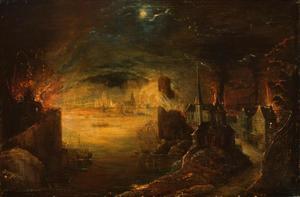 Brand in een havenstad