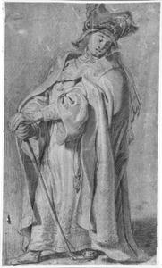 Staande man met mantel en bontmuts, leunend op een staf