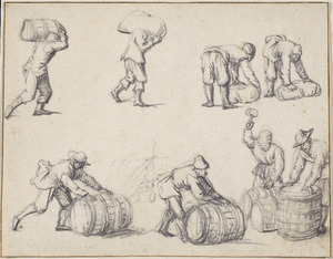 Mannen met tonnen en zakken