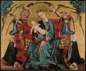 Tronende Maria en kind met engelen en stichters