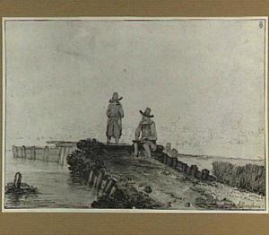 Tekenaar en man op een pier; op de achtergrond een stad