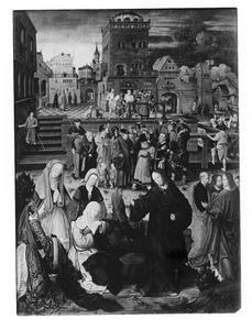 Christus neemt afscheid van Maria. In de achtergrond: Ecce Homo