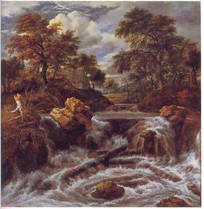Bebost landschap met een waterval
