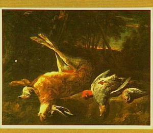 Jachtbuit met een haas, een patrijs en ander gevogelte in een landschap