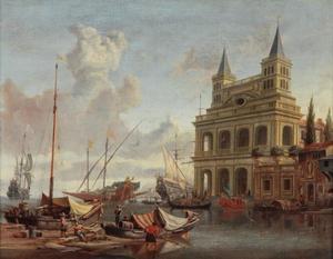Gezicht op een mediterrane haven met rechts de Loggia delle Benedizioni te Rome