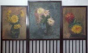 Kamerscherm met drie bloemstillevens