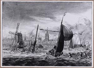 Zeilschepen op het IJ, op de achtergrond Amsterdam