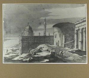 Italianiserend stadsgezicht met motieven uit Rome