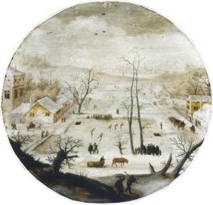 De maand januari: winterlandschap met schaatsters op het ijs