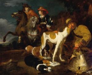 Jagers in een landschap