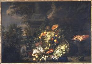 Stilleven van vruchten, groenten en een krab met een aap in de open lucht