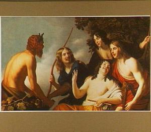 Sater met allegorische figuren in pastorale kostuums