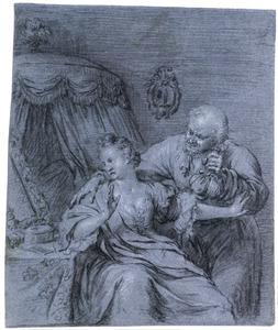 Oude man met geldbuidel probeert vrouw te verleiden in slaapkamer