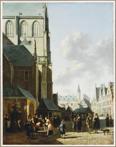 De Vismarkt in Haarlem, op de achtergrond het stadhuis
