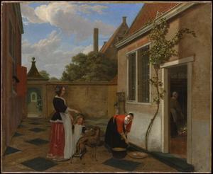 Vrouw, dienstmeid en kind in een achtertuin