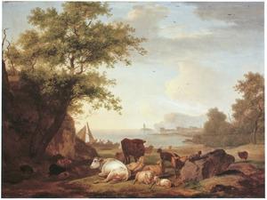 Boeren en vee op een rotsige rivieroever, in de verte een vuurtoren