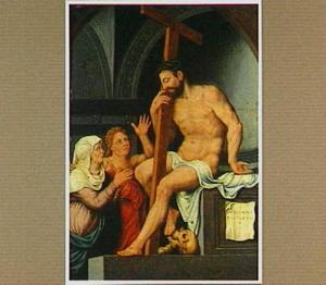 Christus zittend op een graftombe