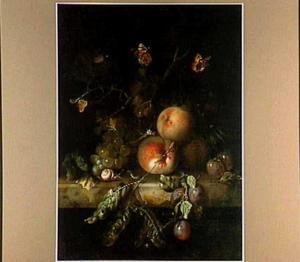 Vruchtenstilleven met insekten op een marmeren blad