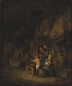 Boerenfamilie in huis