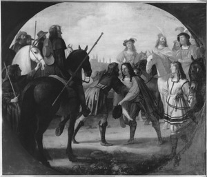 Koning Christiaan I van Denemarken ontmoet prins Maximiliaan bij Rothenburg in 1474