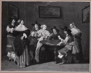 Elegant rokend en kaartspelend gezelschap in een interieur