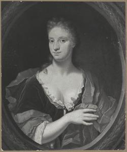 Portret van een jonge vrouw in een geschilderd ovaal