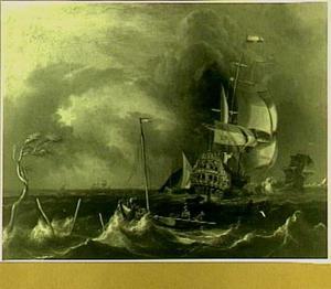 """Het schip """"De Windhond"""" in woelig water"""