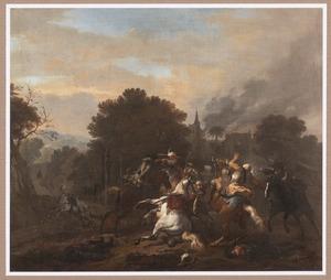 Boslandschap met ruitergevecht tussen Europeanen en Oosterlingen