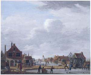 Gezicht op het Polderhuis bij de Weteringpoort in Amsterdam, met de overhaal tussen de Boerenwetering en de Mennonietensloot