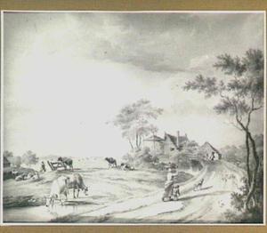 Landschap met boerderij, koeien en figuren op landweg
