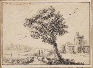 Heuvellandschap met grote boom en ruïne