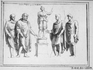 Mannen in toga rond een standbeeld