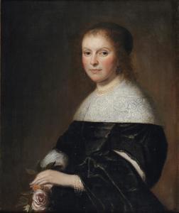 Portret van een onbekende dame, halve lengte, met roos in de hand