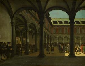 De binnenplaats van de Beurs te Amsterdam, na de verbouwing van 1668