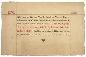 Huwelijksaankondiging H.G.A. van der Schalk en R.N. Roland Holst