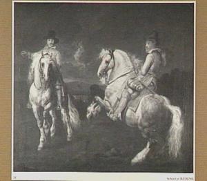 Studie van twee mannen te paard