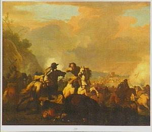 Ruitergevecht met gevallen soldaat op de voorgrond