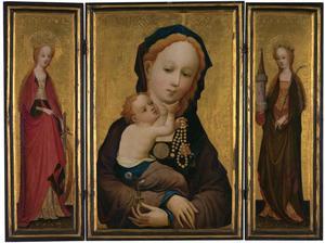 De H. Catharina (binnenzijde linkerluik), Maria met kind (middenpaneel), de H. Barbara (binnenzijde rechterluik); de doornenkroning (buitenzijden luiken)