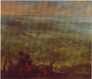 Panoramisch landschap met belegering van Saint-Omer, 1639