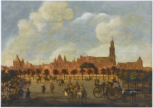 Het Vredenburg in Utrecht met in de achtergrond stadskasteel Oudaen, de Domkerk en de Buurkerk