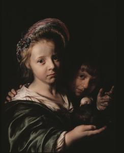 Meisje met duif en jongetje dat een gebaar maakt