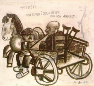 Twee boeren op een kar