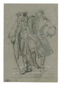 Kreupele oude man leunend op een jongeman