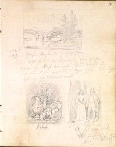 Schetsen naar schilderijen van Berchem, Kalf en Anthony van Dyck in het Rijksmuseum