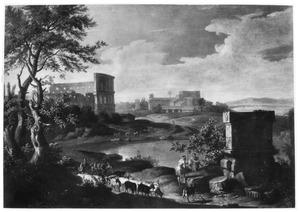 Zuidelijk landschap met herders bij een grafmonument; links op de achtergrond het Colosseum