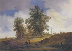 landschap met een man, vrouw en hond