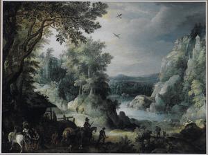 Boslandschap met zicht op een dal