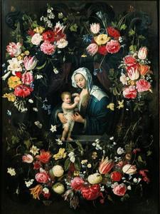 Maria met kind in een met bloemen versierd cartouche